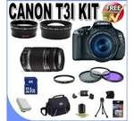 Canon EOS Rebel T3i 18 MP CMOS Digital SLR Camera and DIGIC 4 Imaging with EF-S 18-55mm IS Lens & Canon 75-300 Lens + 58mm 2x Telephoto lens + 58mm Wide Angle