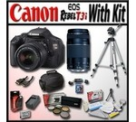 Canon EOS Rebel T3i 18 MP CMOS Digital SLR Full HD Camera with Advanced Shooters Kit - Package includes: EF-S 18-55mm f/3.5-5.6 IS, EF 75-300mm f/4-5