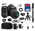 Nikon D3200 Black 24.2 MP CMOS Digital SLR Camera with 18-55mm Lens and Nikon AF-S NIKKOR 55-300mm f/4.5-5