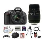 Nikon D5200 24.1 MP CMOS Digital SLR Camera with 18-55mm f/3.5-5.6 AF-S DX VR NIKKOR Zoom Lens + Sigma 70-300mm f/4-5