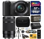 Sony Alpha A5000 20.1 MP Interchangeable Lens Camera with 16-50mm OSS Lens (Black) ILCE5000L & Sony E 55-210mm F4.5-6