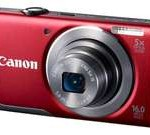 Canon PowerShot A3500 IS Red 16 MP 28mm Wide Angle Digital Camera with Case