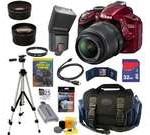 NIKON D3200 24.2 MP CMOS Digital SLR Camera (Red) with 18-55mm f/3.5-5