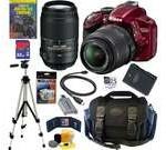 NIKON D3200 24.2 MP CMOS Digital SLR Camera (Red) with 18-55mm f/3.5-5.6G AF-S DX VR and 55-300mm f/4.5-5