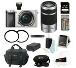 Sony Alpha a6000 ILCE6000L/S 24.3 MP Interchangeable Lens Camera with 16-50mm Power Zoom Lens (Silver) + Sony 55-210mm f/4.5-6