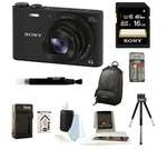 Sony DSC-WX350/B DSCWX350 WX350 18 MP Digital Camera (Black) + 16GB Bundle