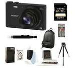Sony DSC-WX350/B DSCWX350 WX350 18 MP Digital Camera (Black) + 32GB Bundle